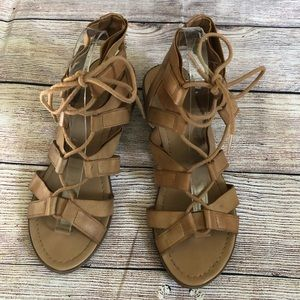 City Classified Strappy Lace Up Heeled Sandal Sz 9
